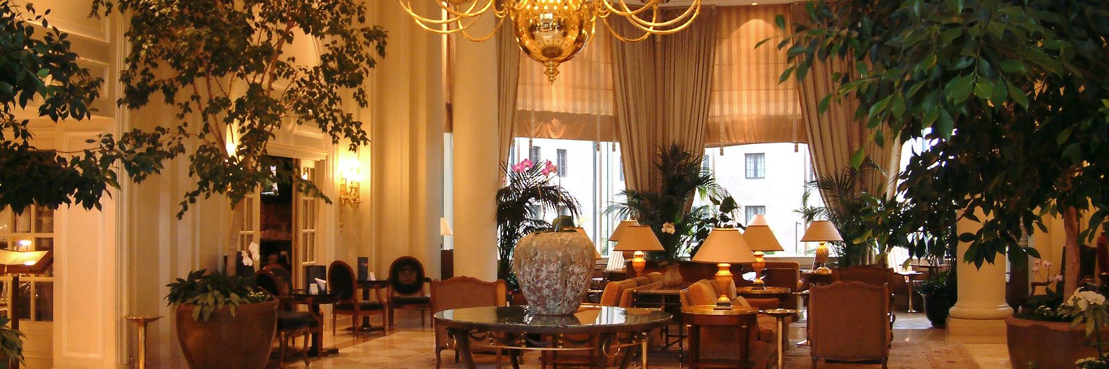 Hospitality depicted as a hotel lobby